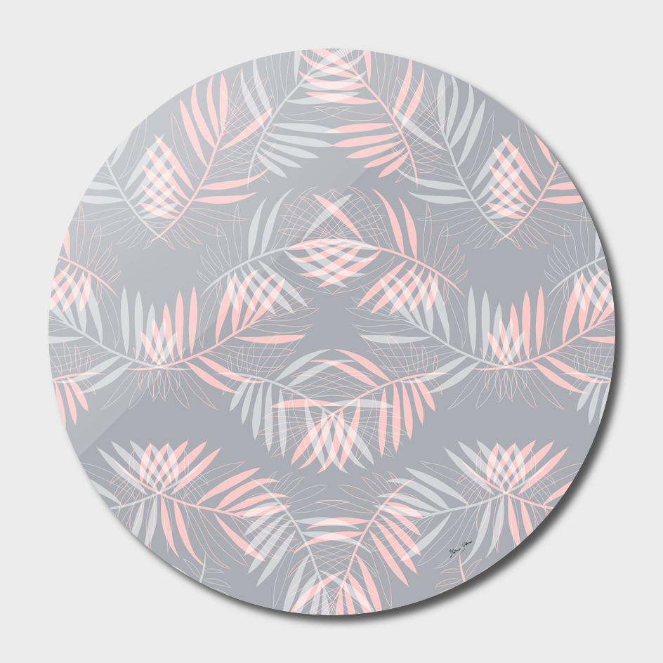 Palm Leaves Lace Pattern on Grey