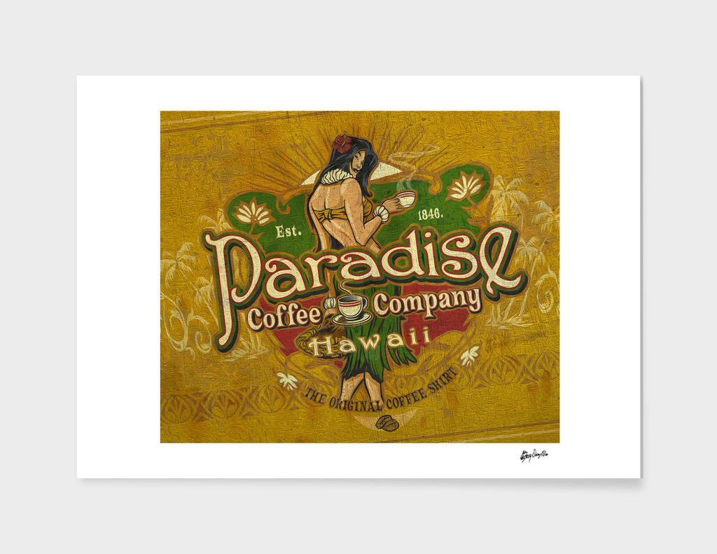 Paradise Coffee Company Vintage Sign art