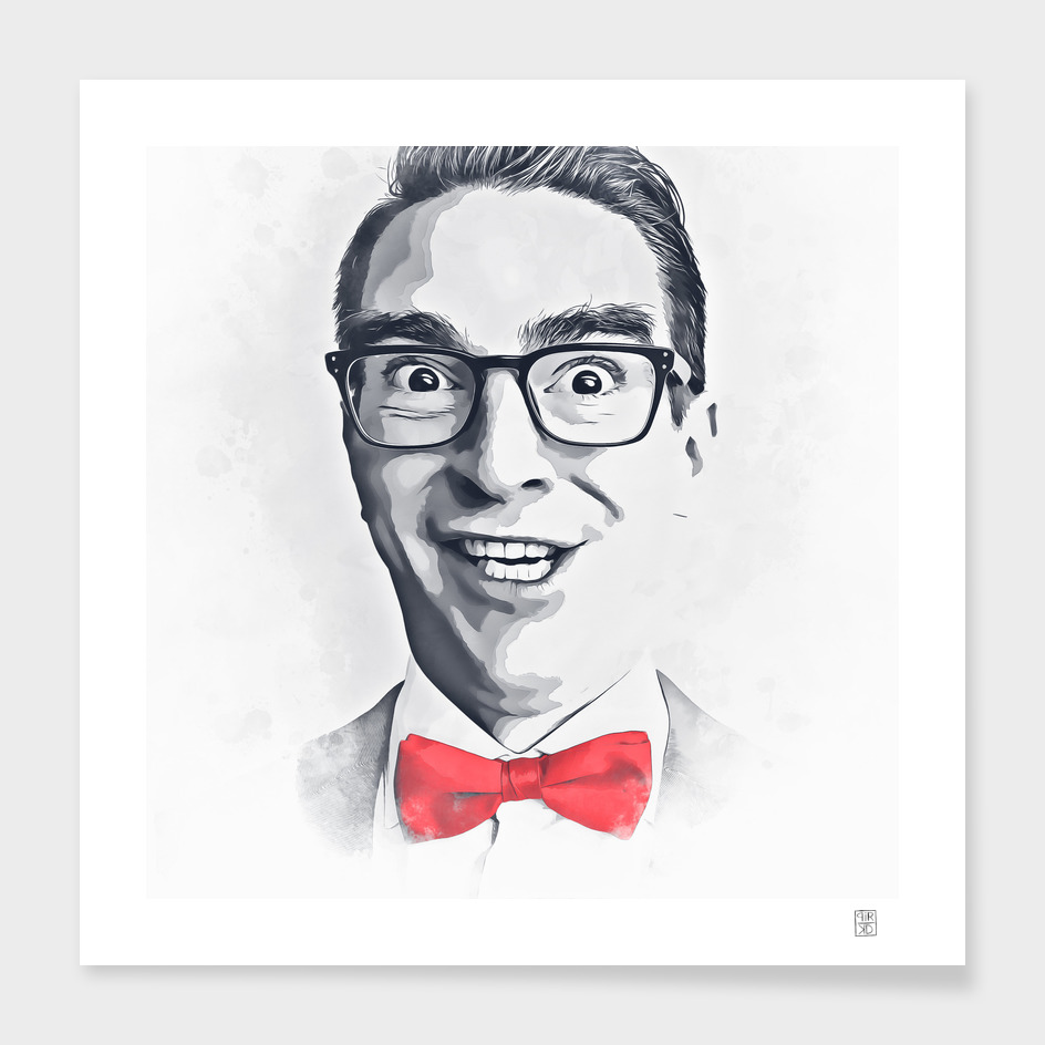 Man with bow tie painting watercolor