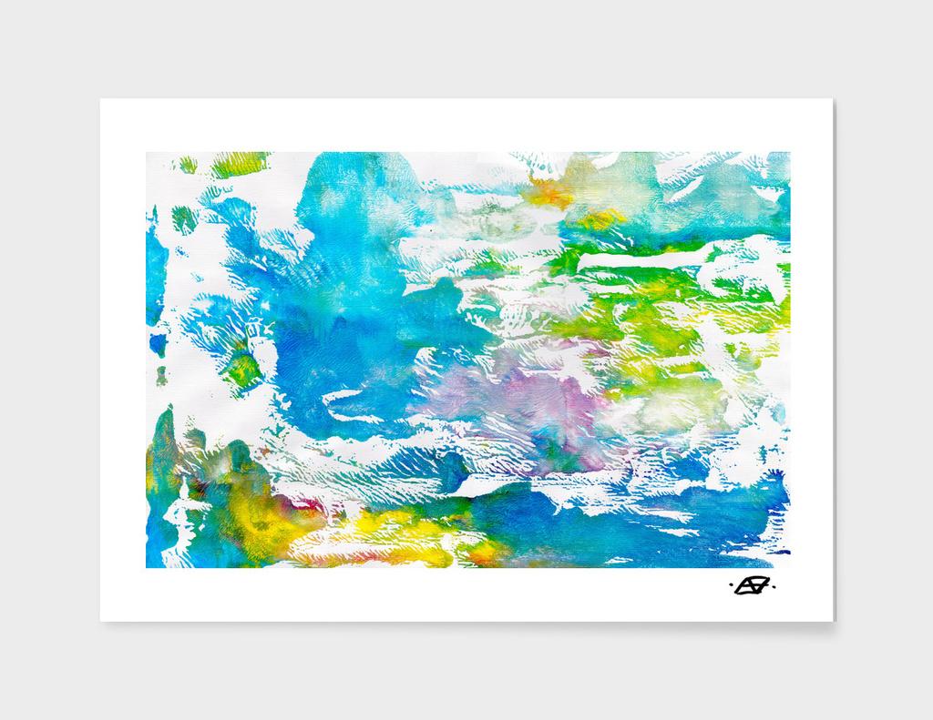 Algae and Aqua - Abstract Painting