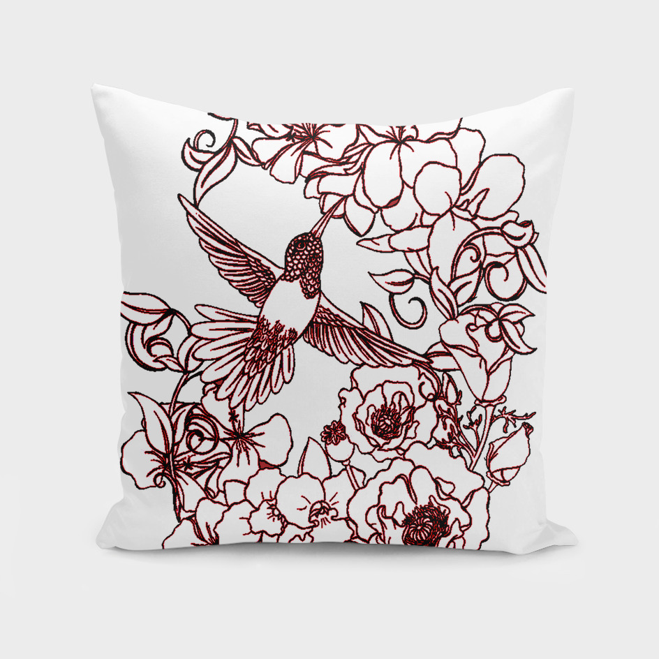 Flowers Surrounding Hummingbird a