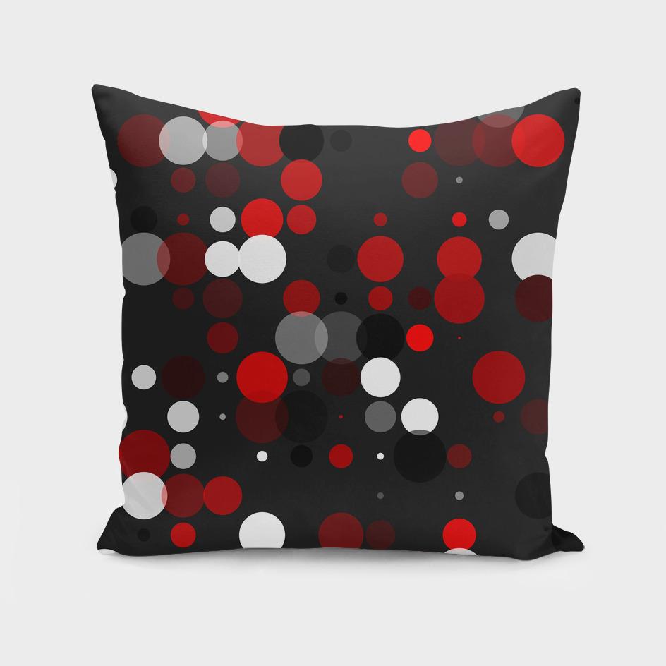 Black red white and gray polka dot