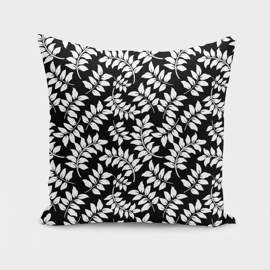 Black and White Graphic Curved Leaves Pattern