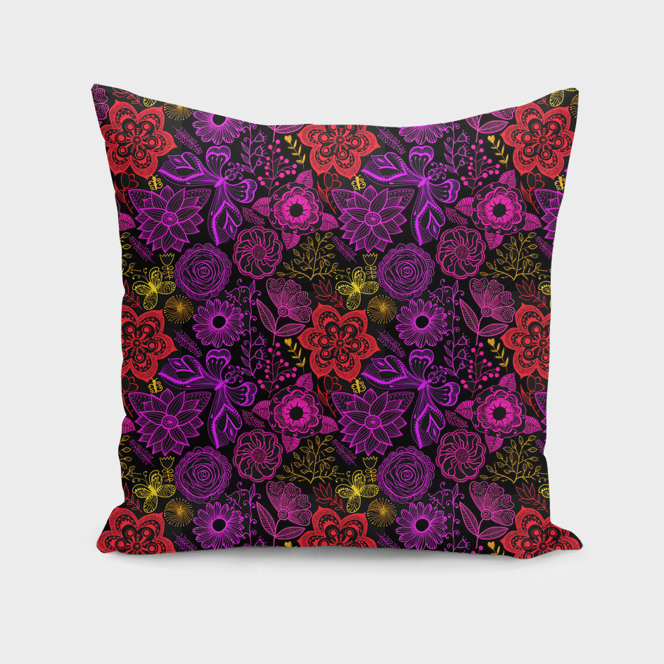 Fantasy Flowers and Butterflies in Red Purple Pi