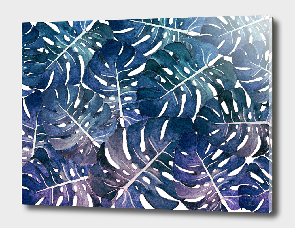 Monstera leaves watercolor n.2