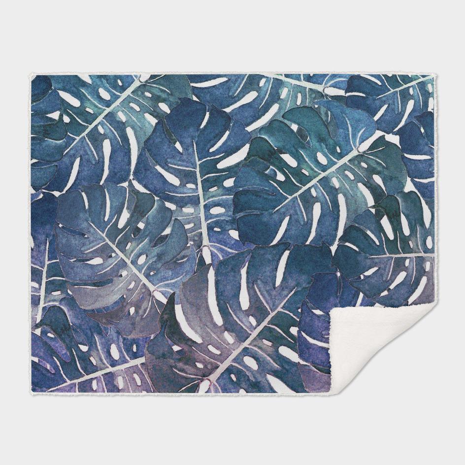 Monstera leaves watercolor n.2
