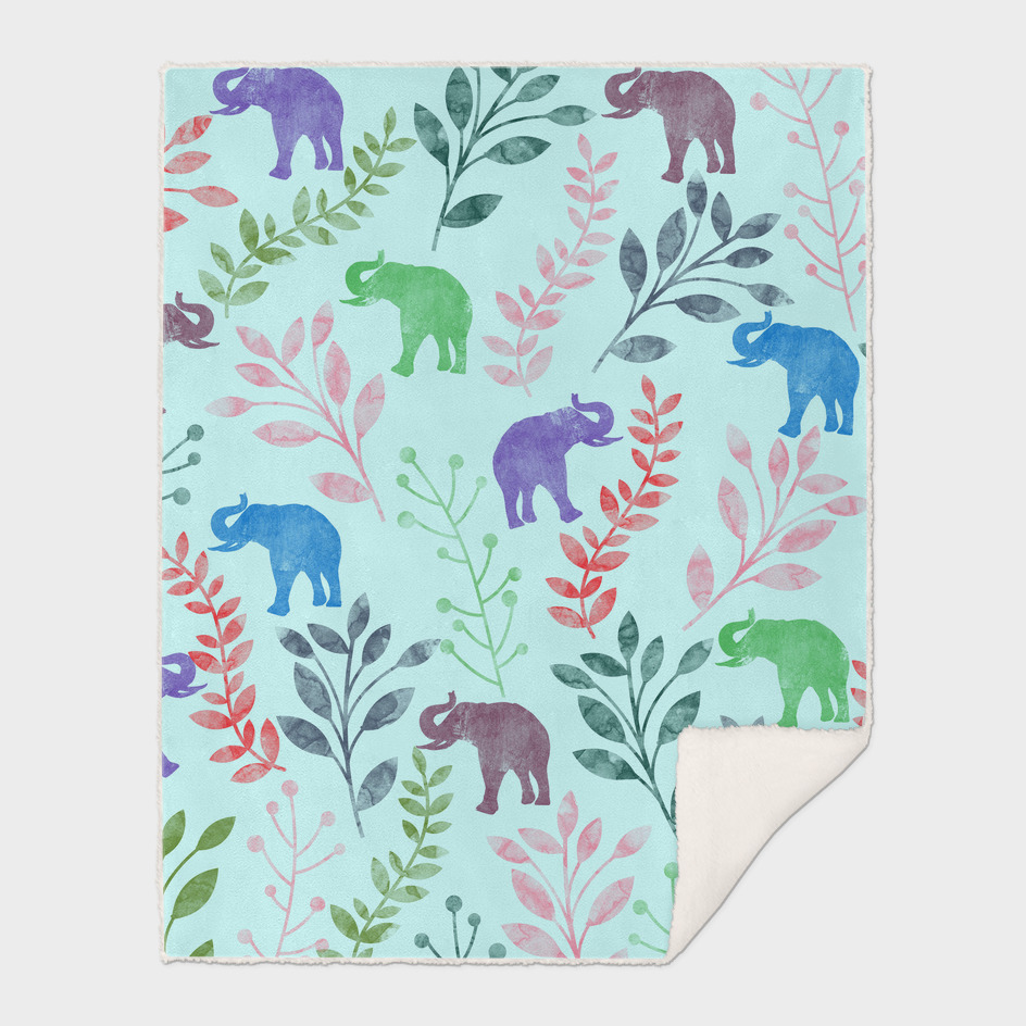 Watercolor Floral & Elephant  III