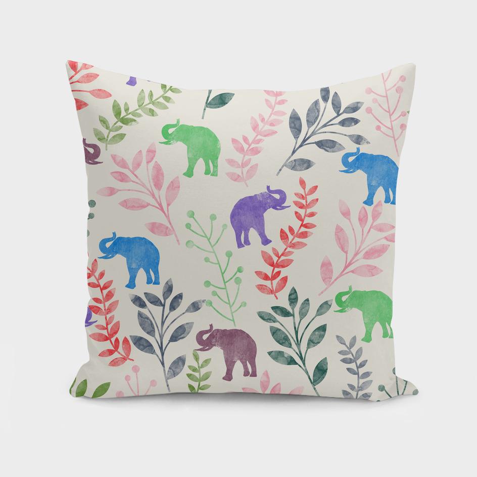 Watercolor Floral & Elephant  IV