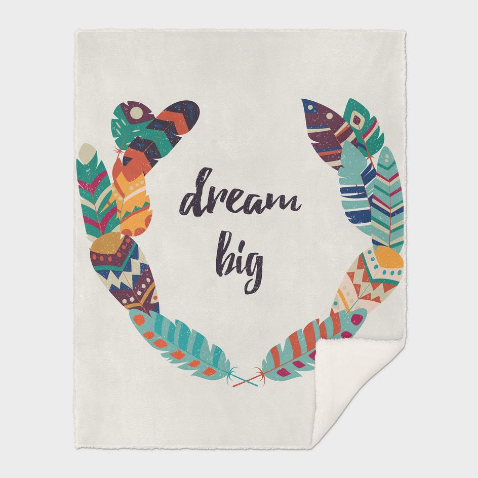 Dream big tribal feathers, wreath