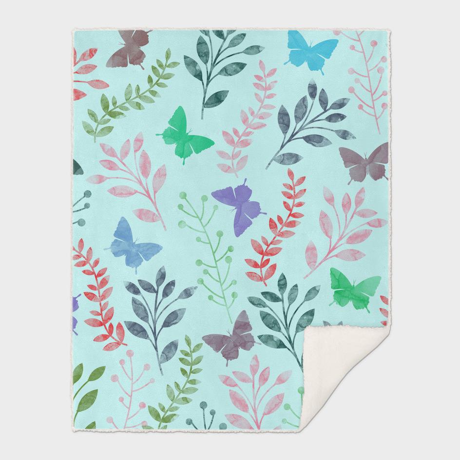 Watercolor Flowers & Butterfly II
