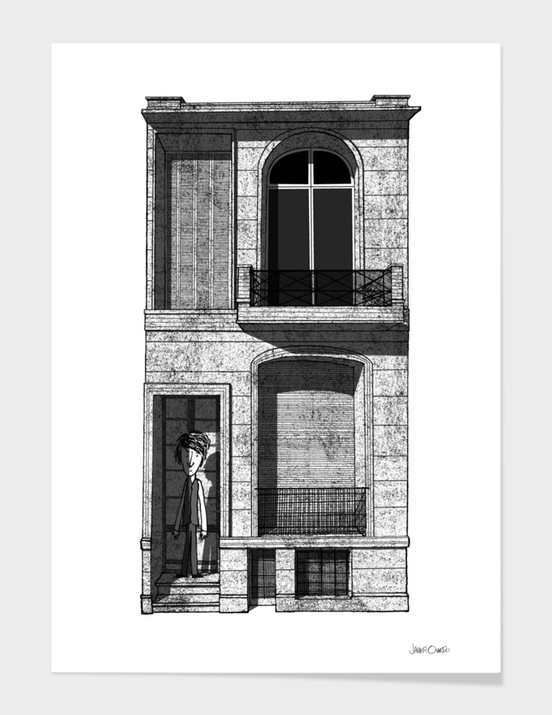 Doubtful Boy Waiting on the Door