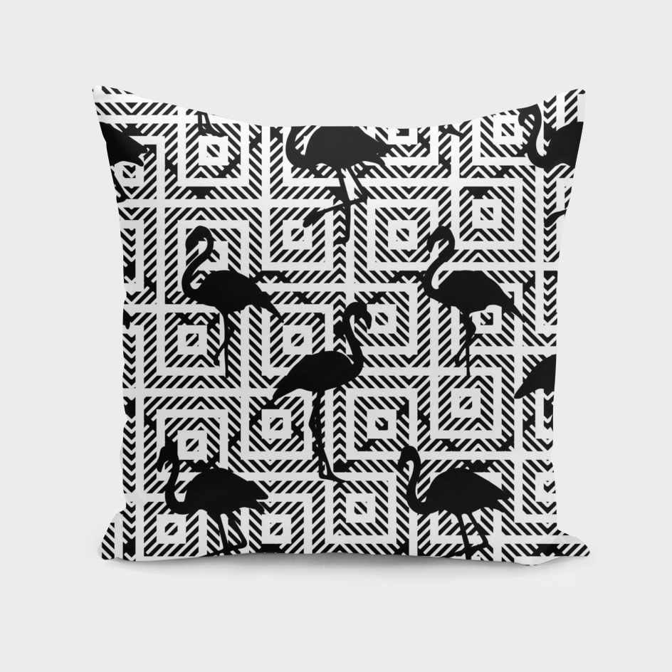 B&W Geometric Flamingos