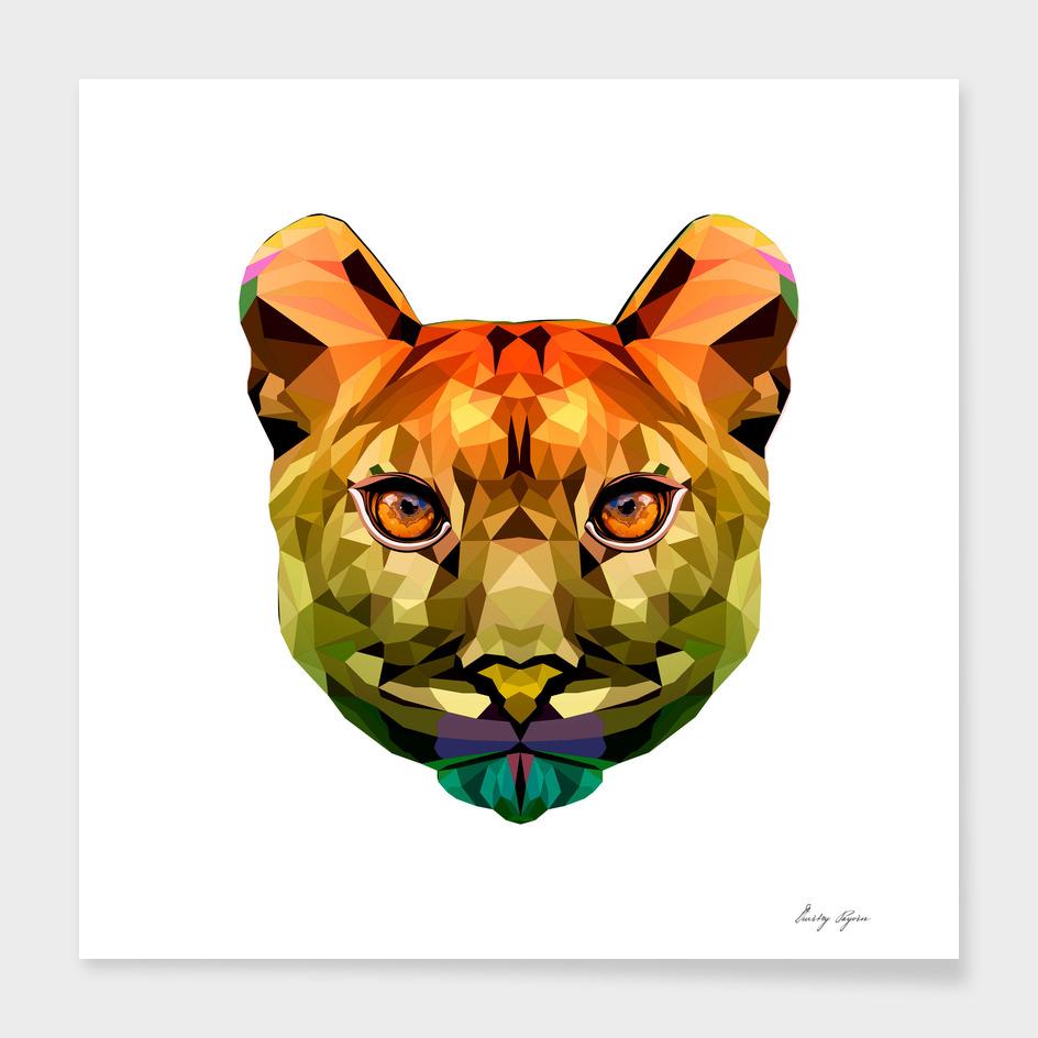 Puma polygonal portrait