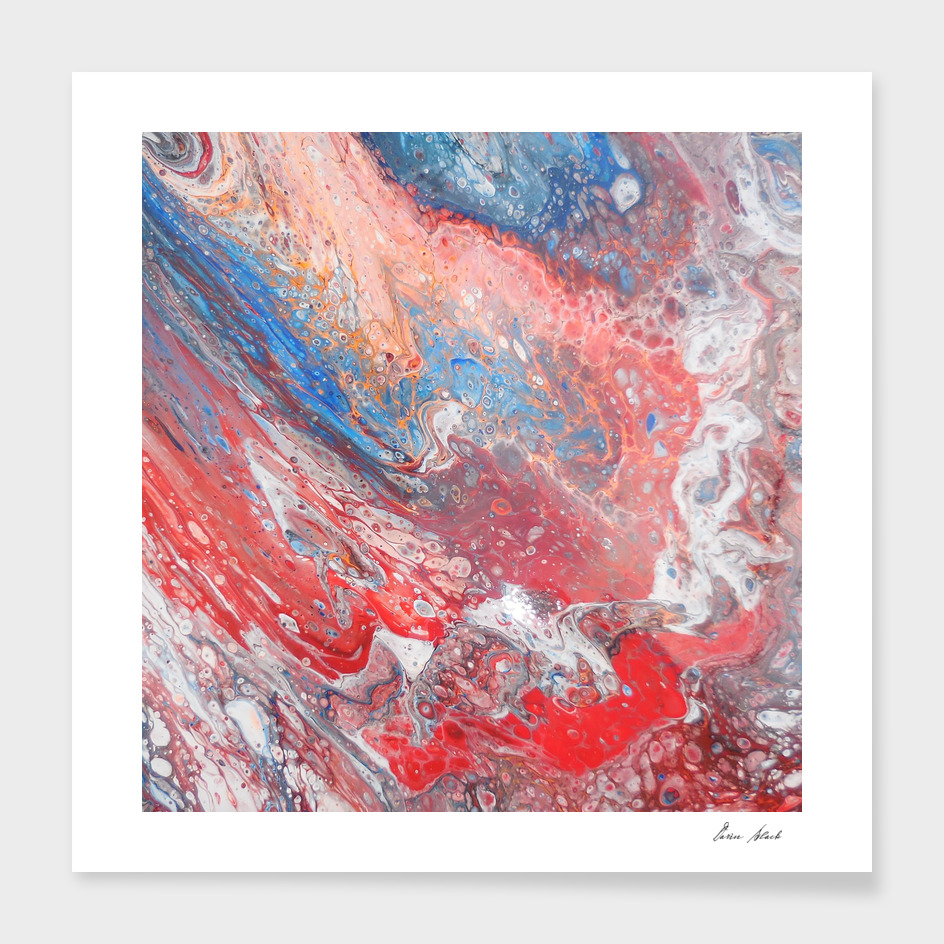 Red Blue White Abstract