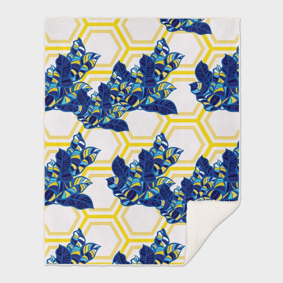 Geo Pop Foliage Pattern - Blue & Yellow