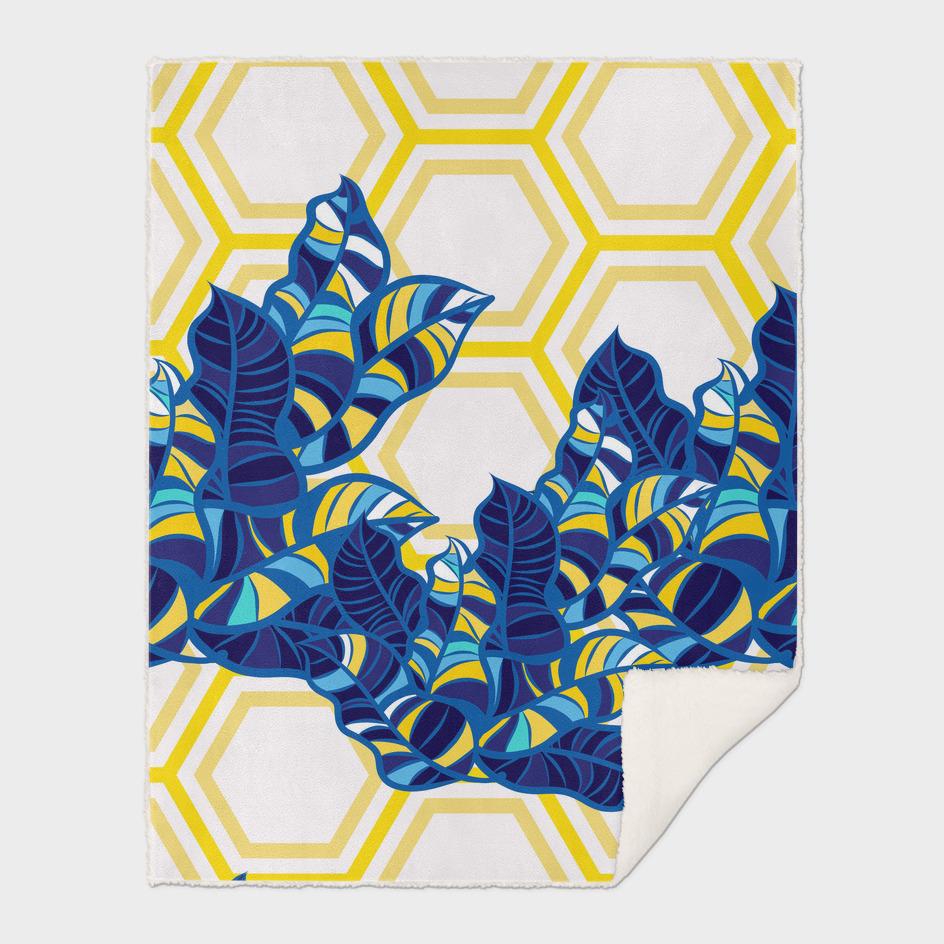 Geo Pop Foliage Pattern - Blue & Yellow / Disk