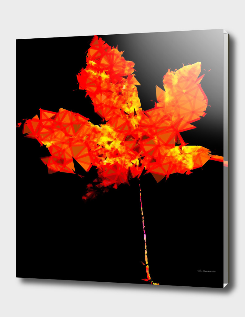orange and yellow geometric polygon maple leaf abstract