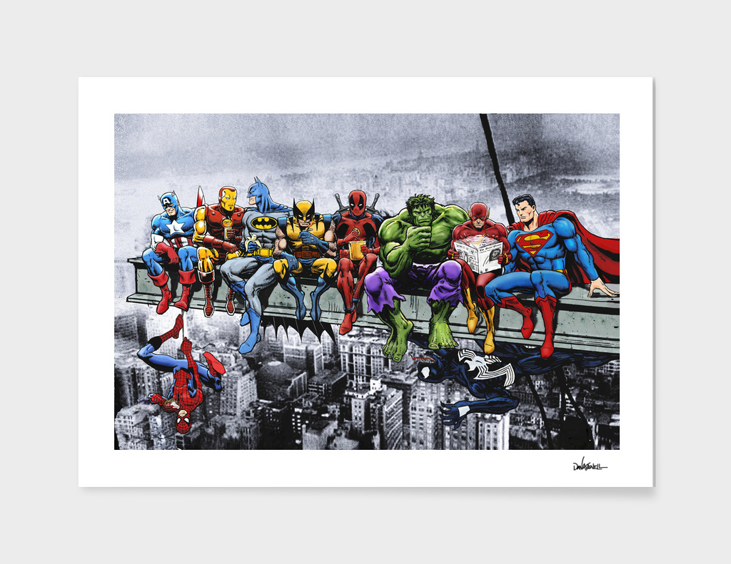 171 Marvel And Dc Superheroes Lunch Atop A Skyscraper 187 Art