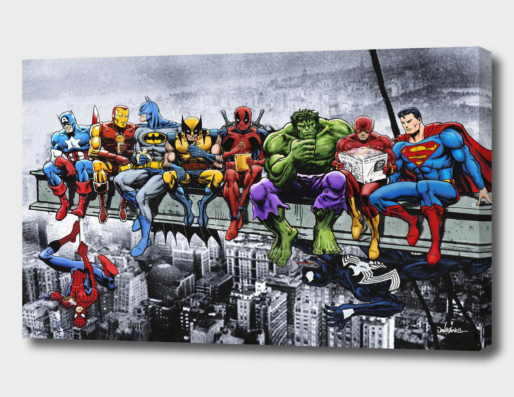171 Marvel And Dc Superheroes Lunch Atop A Skyscraper 187 Canvas