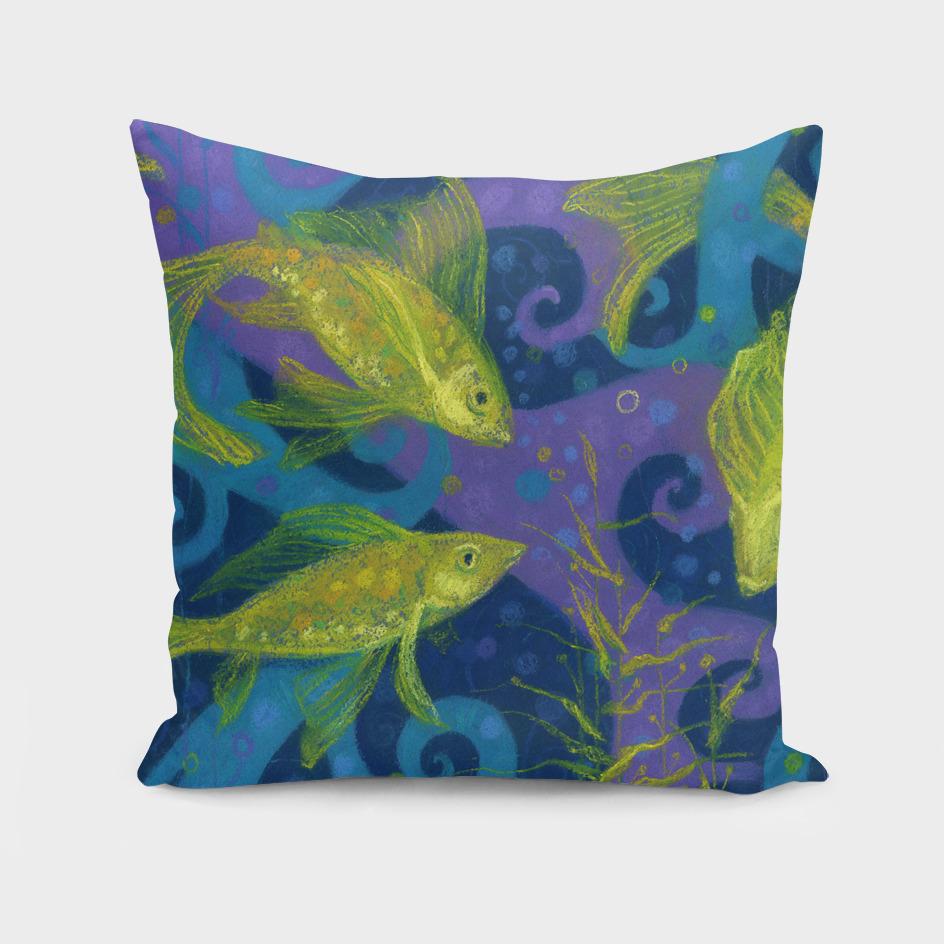 Golden Fishes, underwater creatures, blue & yellow