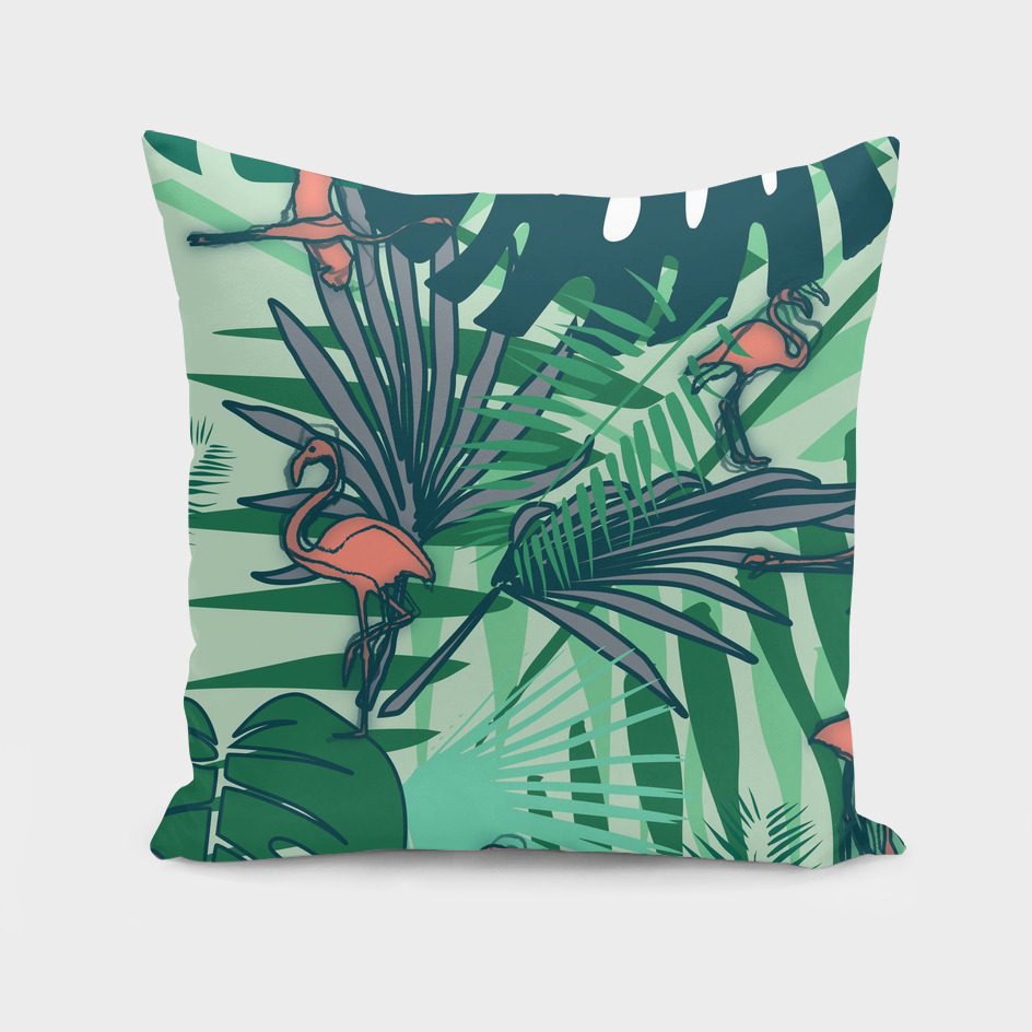 Tropical leaves and flamingos green