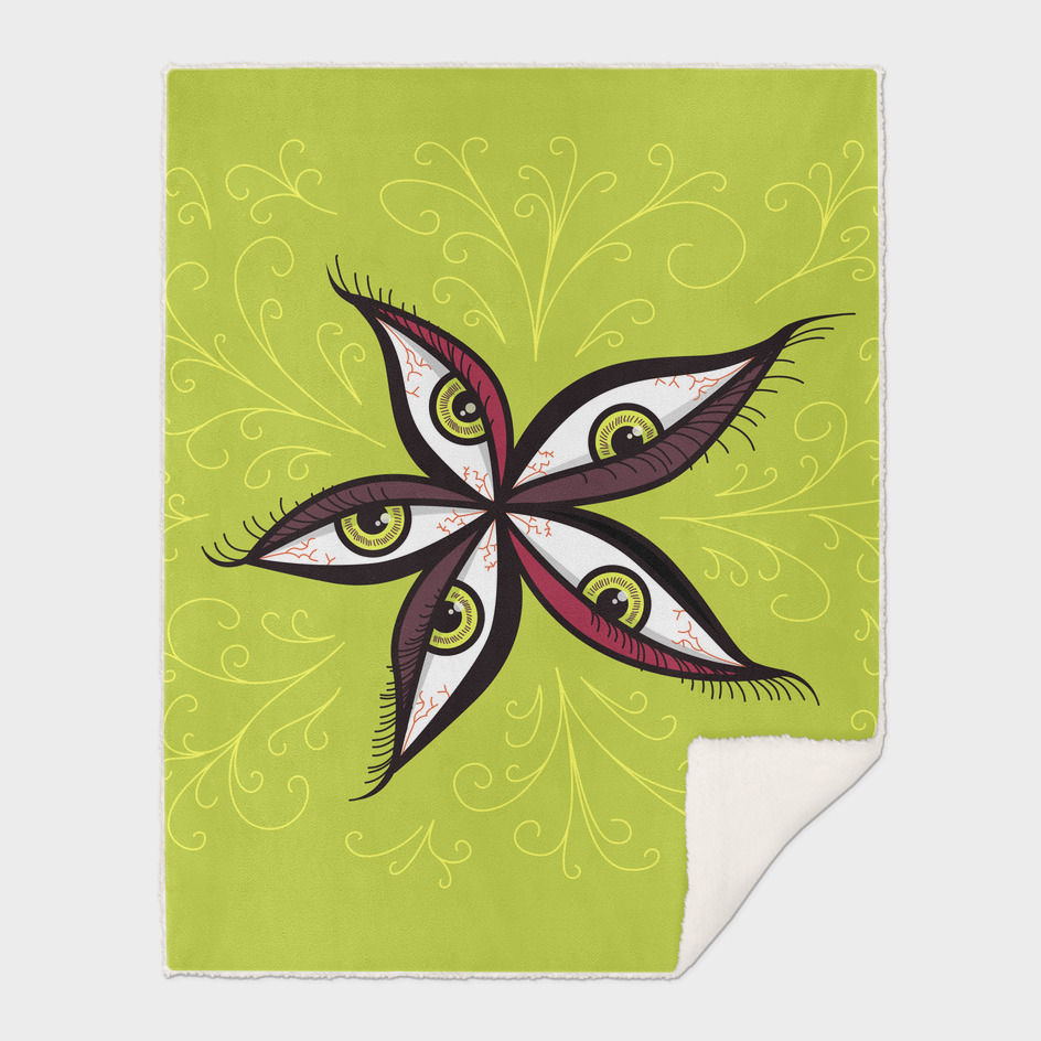 Weird Abstract Green Eyes Flower
