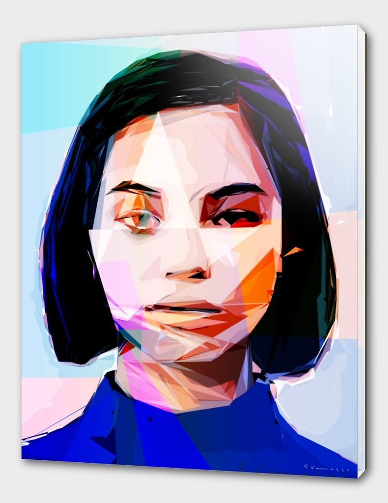 woman with blue blouse