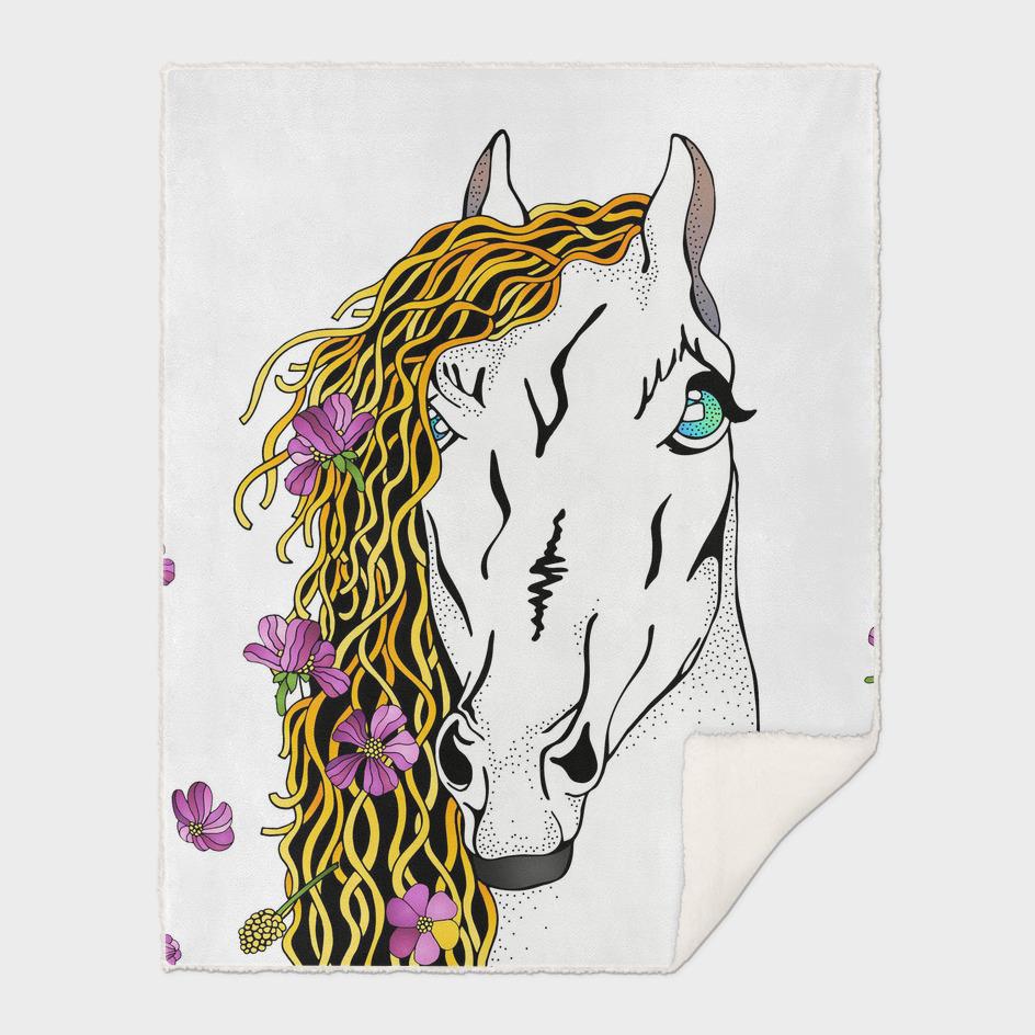 Horse In Wild Flowers