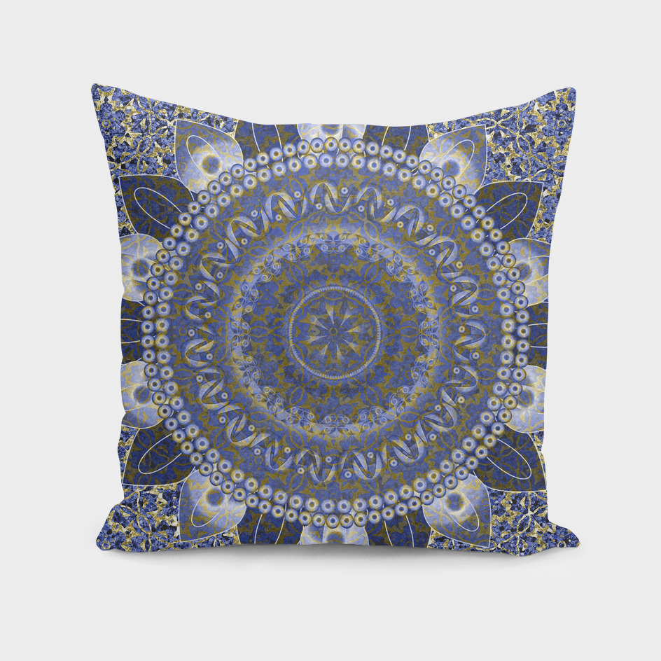 Golden Cornflower Blue Mandala