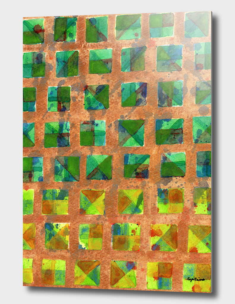 Green Squares on Golden Background Pattern