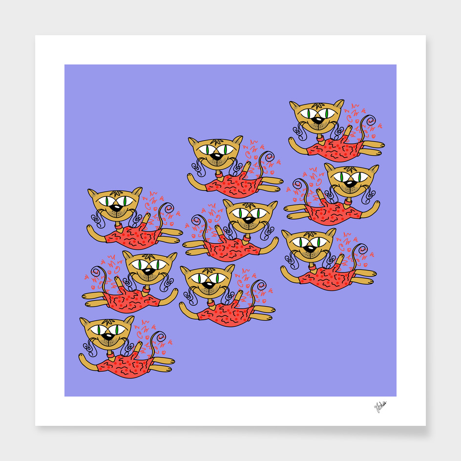Dancing cats (pink)