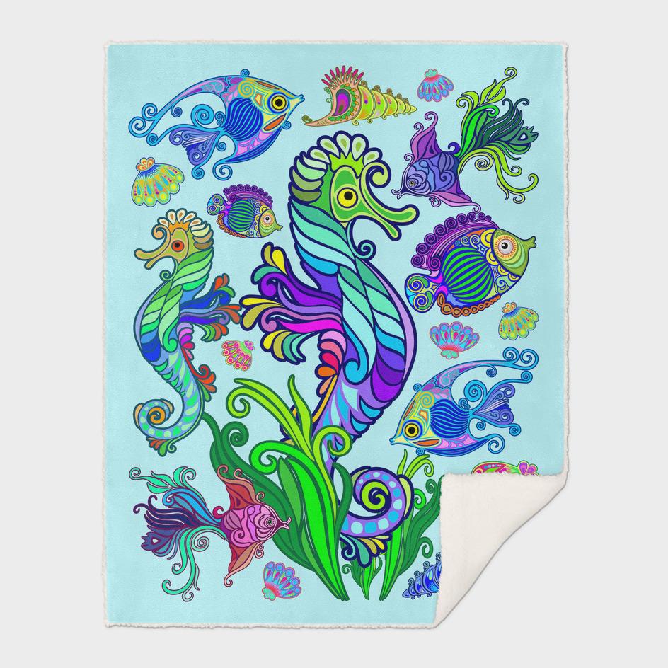 Marine Life Exotic Fishes & SeaHorses Ornamental Style