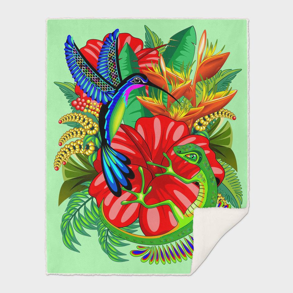 The Lizard, The Hummingbird and The Hibiscus