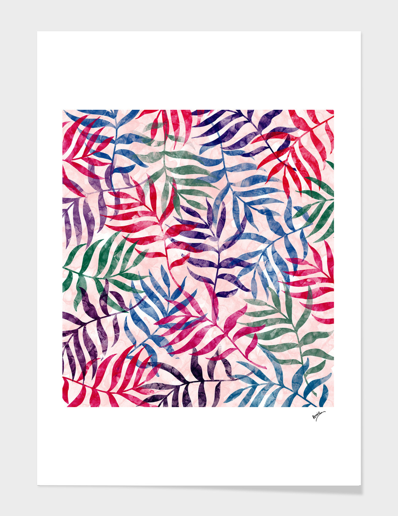 Watercolor Tropical Palm Leaves XVII