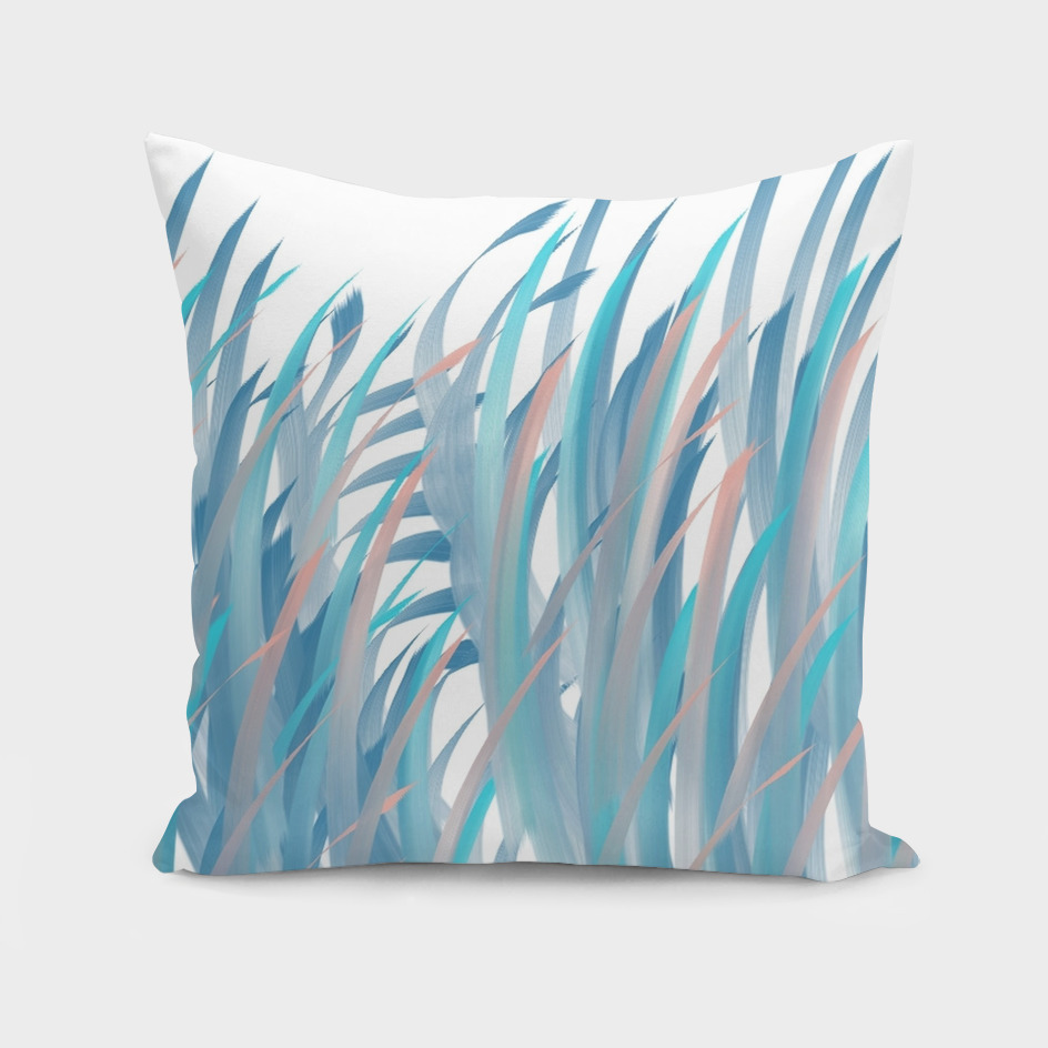 Palms Abstract in Shades of Blue and Peach