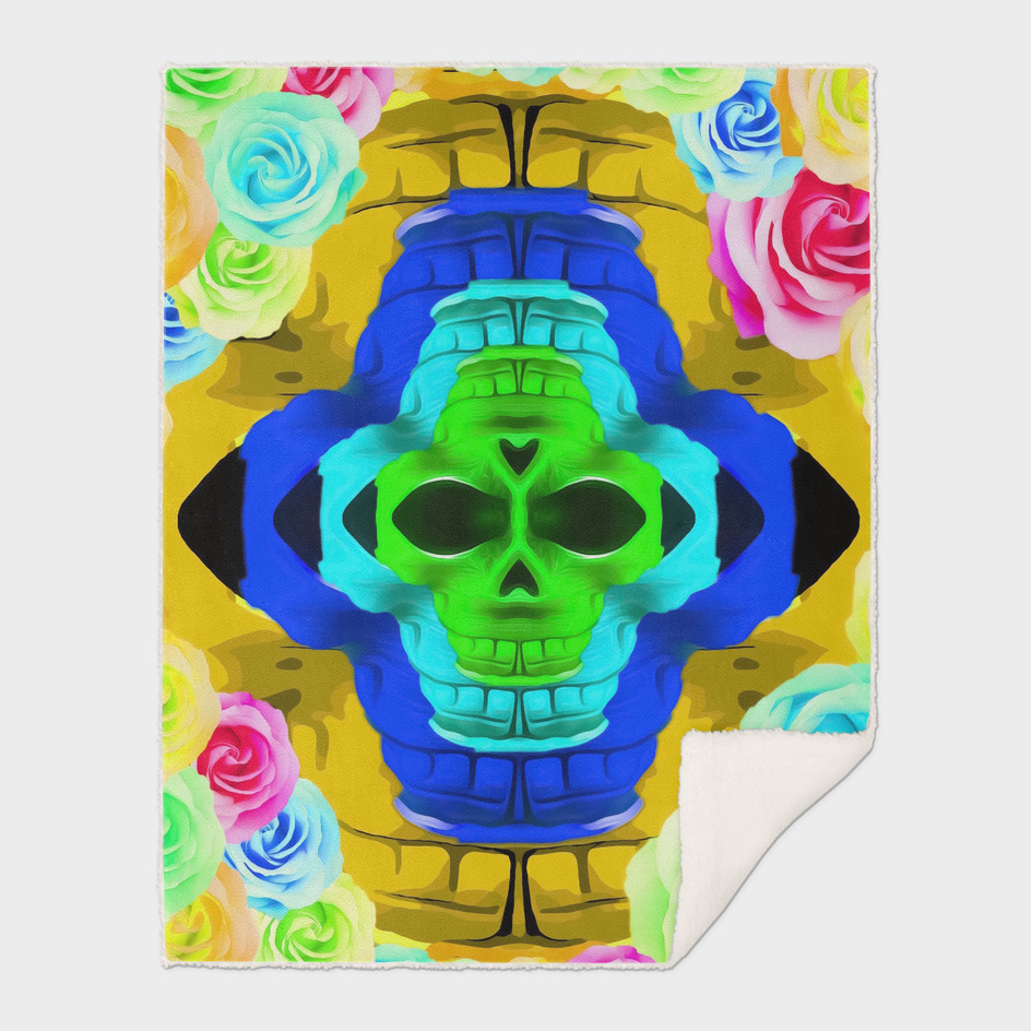 funny skull portrait with colorful roses in pink blue yellow