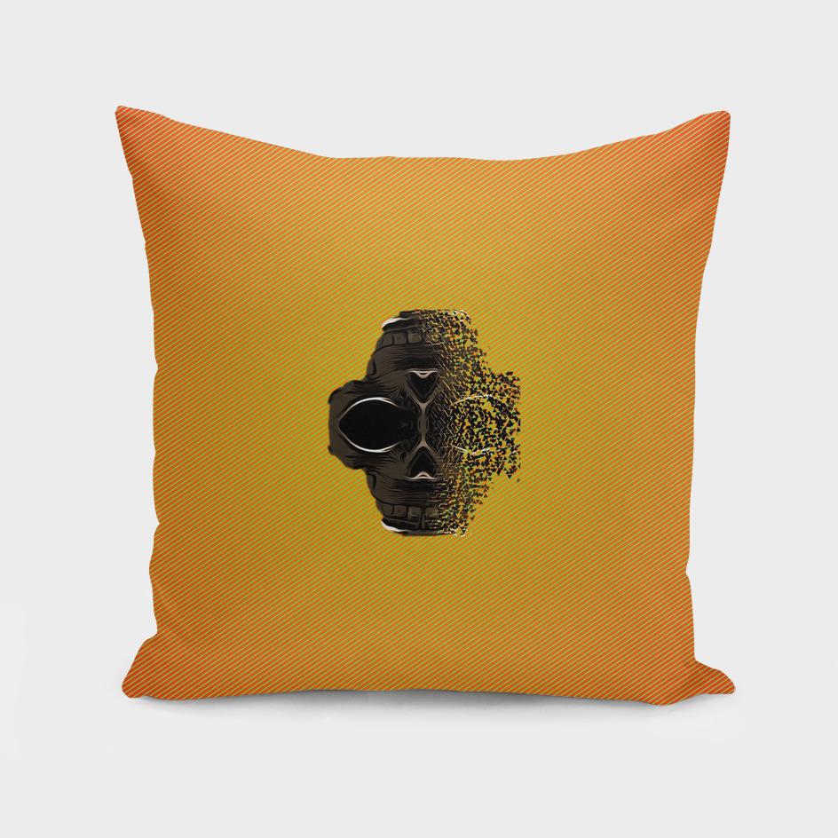 fractal black skull portrait with orange abstract background
