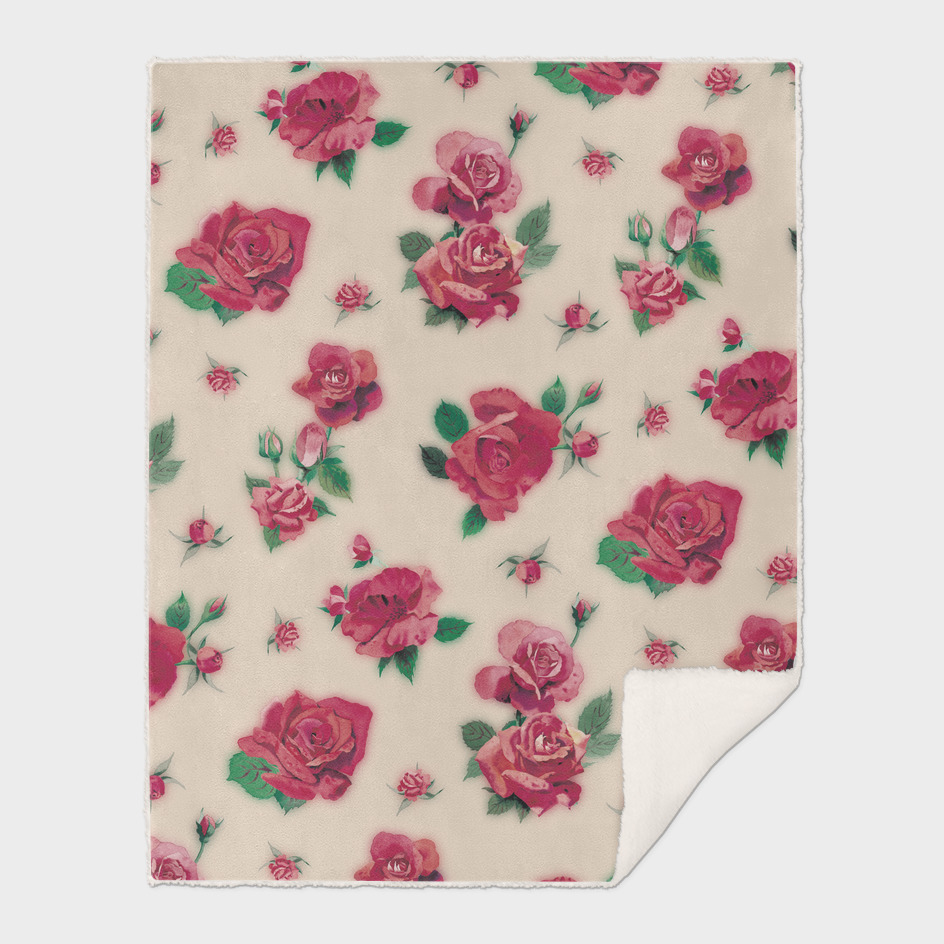 RED ROSES PATTERN - LIGHT PINK BACKGROUND