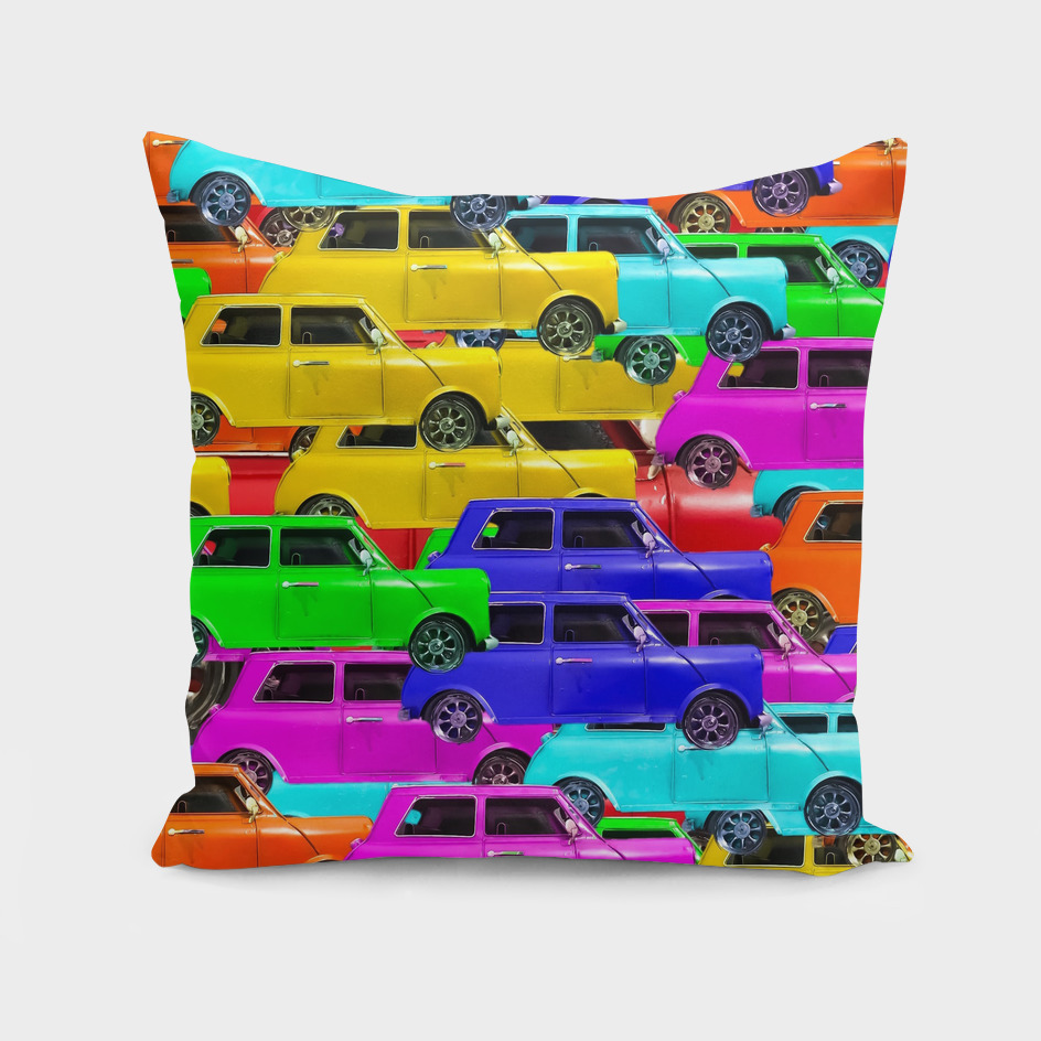 vintage car toy pattern background in yellow blue pink green