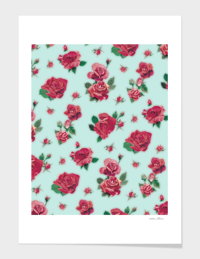 RED ROSES PATTERN - LIGHT BLUE BACKGROUND