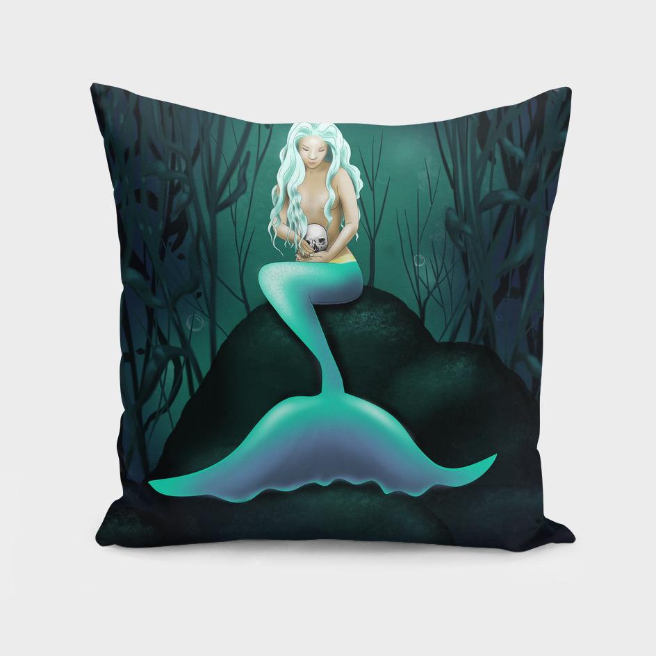 Mermaid Holding a Skull