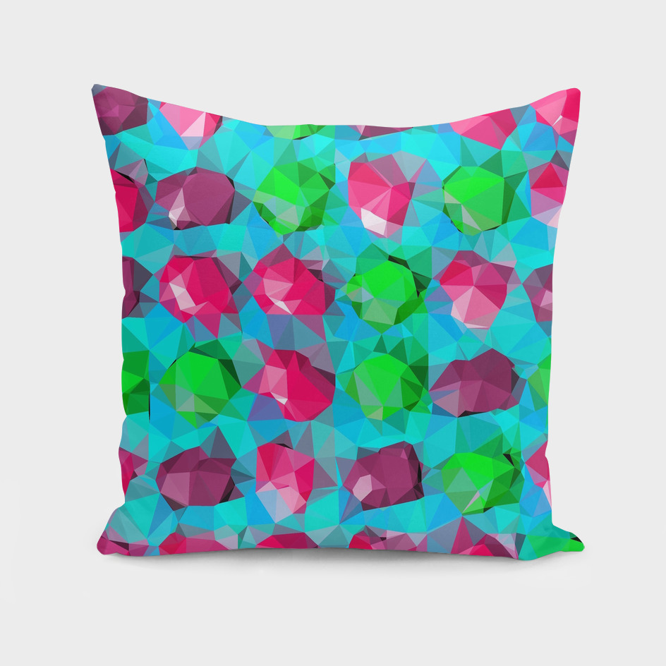 geometric polygon abstract pattern in pink blue green