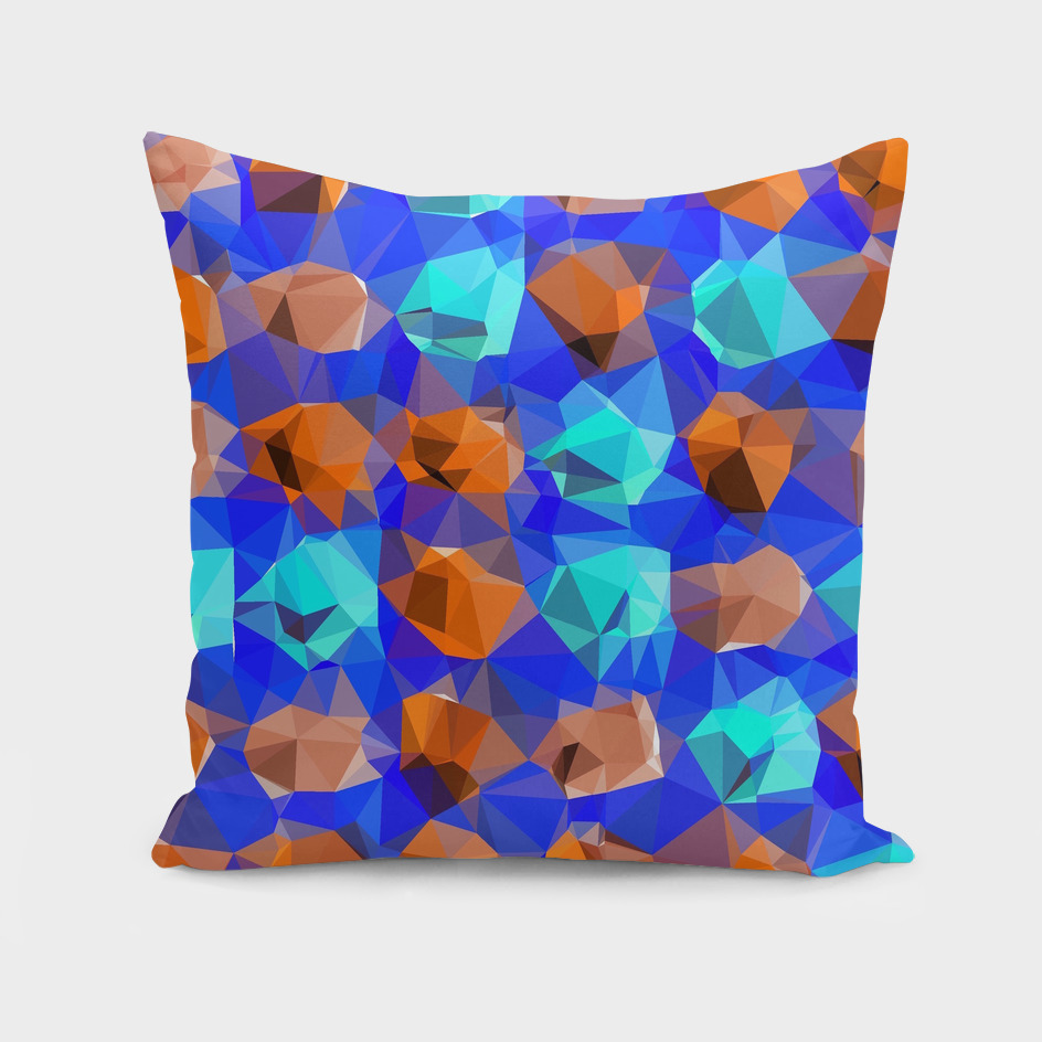 geometric polygon abstract pattern in blue and brown