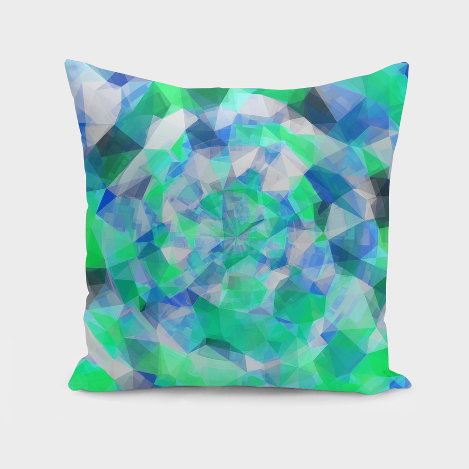 geometric polygon abstract pattern in blue and green