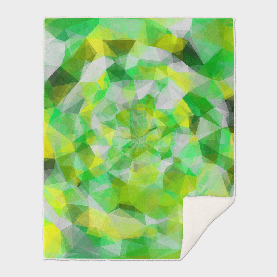 geometric polygon abstract pattern in green and yellow