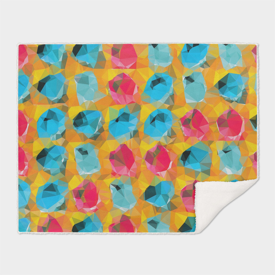 geometric polygon abstract pattern in blue orange red
