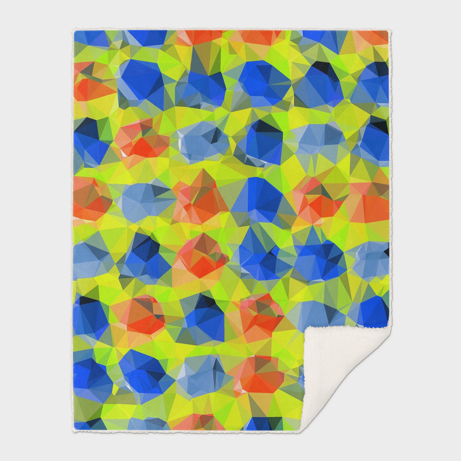 geometric polygon abstract pattern in yellow blue orange