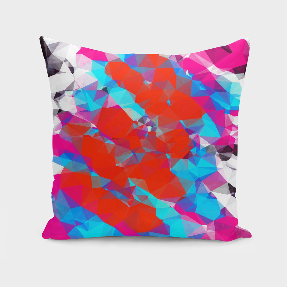 psychedelic geometric polygon abstract in pink red blue