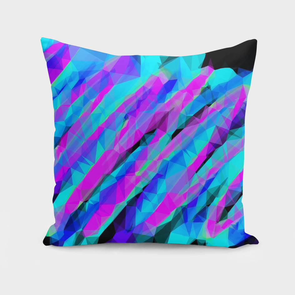 psychedelic geometric polygon abstract in pink blue