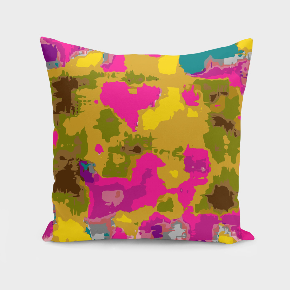 psychedelic geometric painting abstract in pink yellow brown